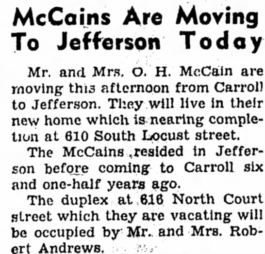29 Nov 1950 Carrol Daily Times Carroll Iowa - McCains Are Moving To Jefferson Today Mr. and...