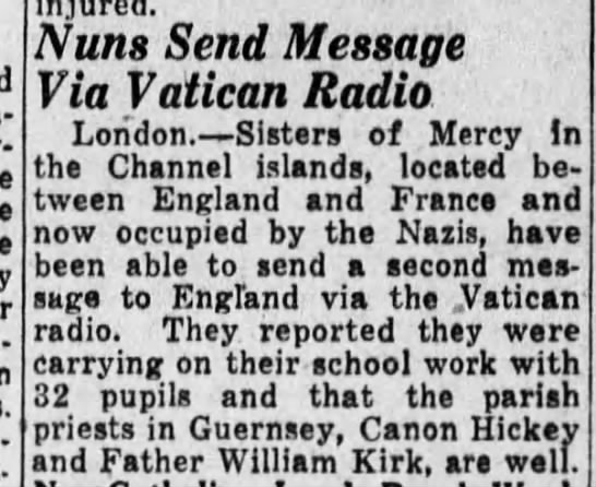 Channel Island nuns send message to England via the Vatican, 3/13/1942 -