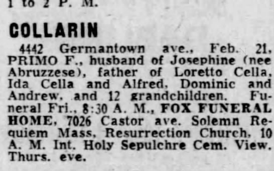 Grandpop Primo's DOD 2/21/1966; phila inquirer 2/24/1966 -
