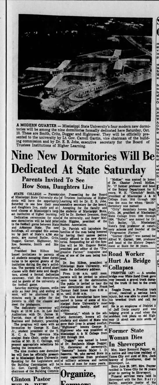 Ceremonies Dedicating  Mississippi State College's Boomerang Dormitories --1959 -