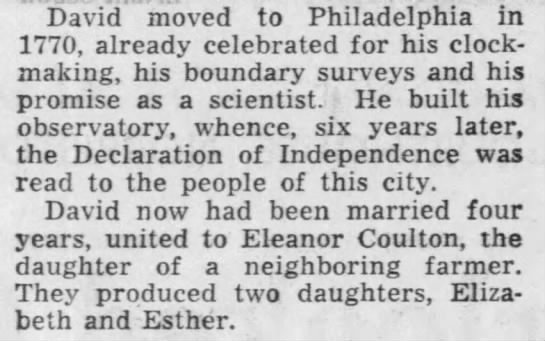 Excerpt from 1967 Philadelphia Inquirer tribute to David Rittenhouse. -