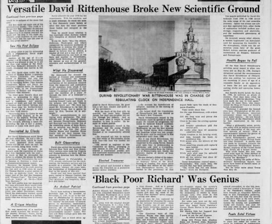 1967 Philadelphia Inquirer tribute to David Rittenhouse, page 2 of 2 -
