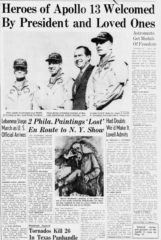 """Heroes of Apollo 13 Welcomed by President and Loved Ones"" page 1 -"