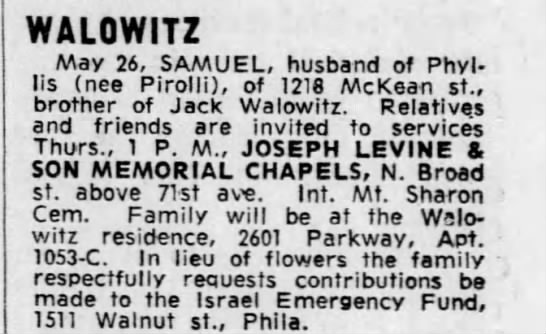 Sam Walowitz Obit published May 27, 1971 -