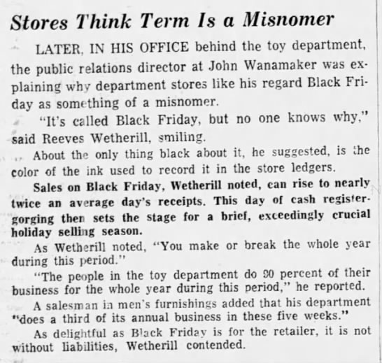 """Theory that """"Black Friday"""" refers to stores making a profit on that day, 1970 -"""