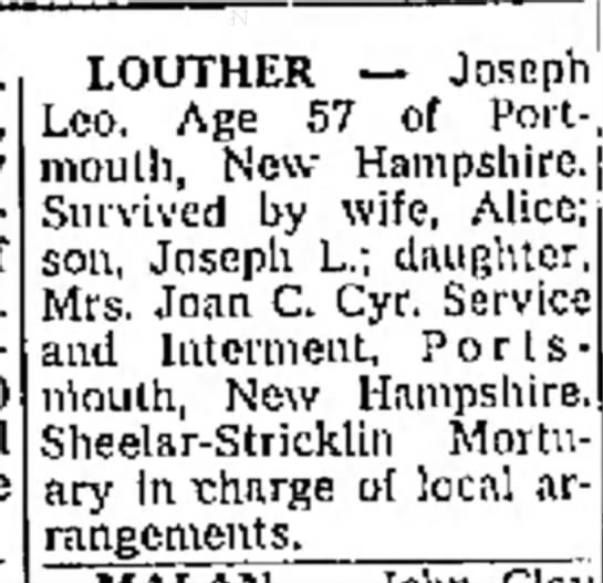 Joseph Leo Louther death notice1967 In New Hampshire St. -