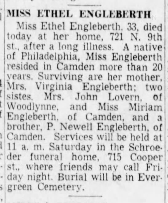 Ethel Engleberth, Camden NJ 29 May 1952 -