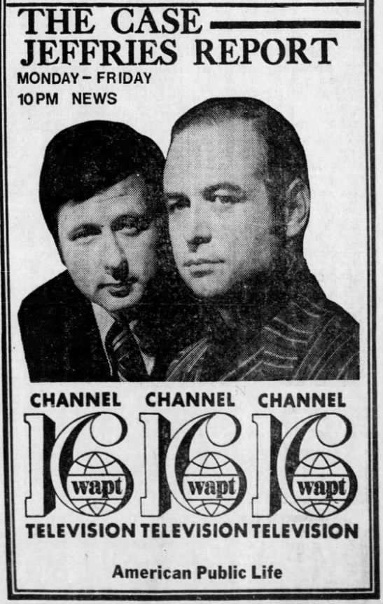 Ad for WAPT news with Bert Case and Jim Jeffries