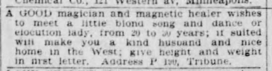 1903 personal ad: Good magician and magnetic healer -