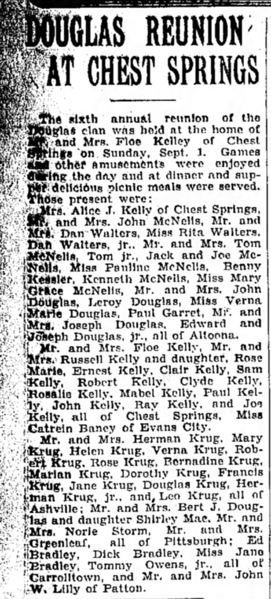 reunion of the Douglas/Kelly clan in Altoona -