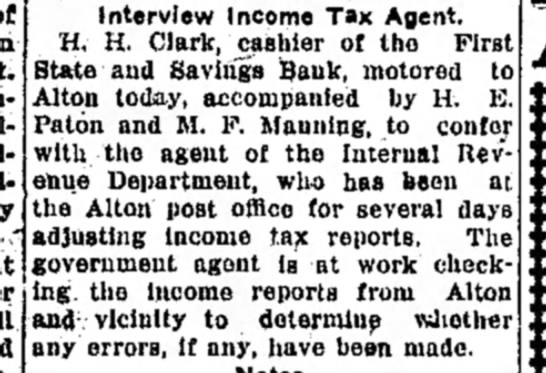 M F Manning - Interview Income Tax Agent. H. H. Clark,...