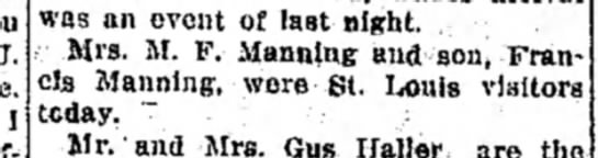Mrs M F Manning and F Manning - I was an event of last night. Mrs. M. F....