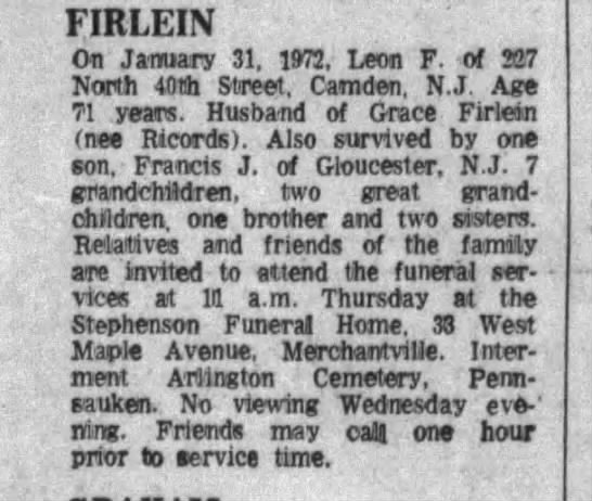 Leon Firlein 2/1/72 obit in the courier , died 1/31/72 -
