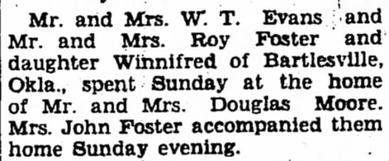 Roy C Foster - Mr. and Mrs. W. T. Evans and Mr. and Mrs. Roy...