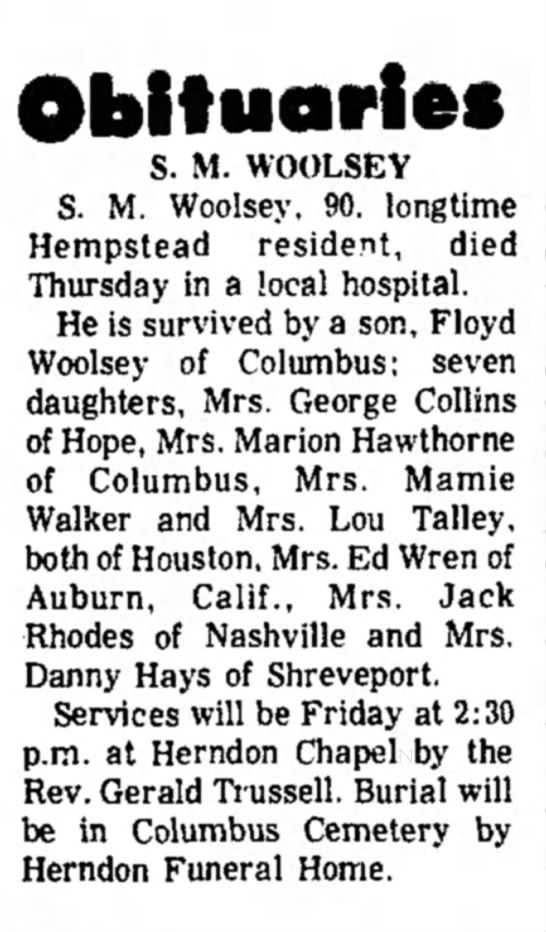 Mrs.Marion Hawthorne, mother's obit, 25 Feb1971 p2 - Obituaries S. M. WOOLSEY S. M. Woolsey, 90....