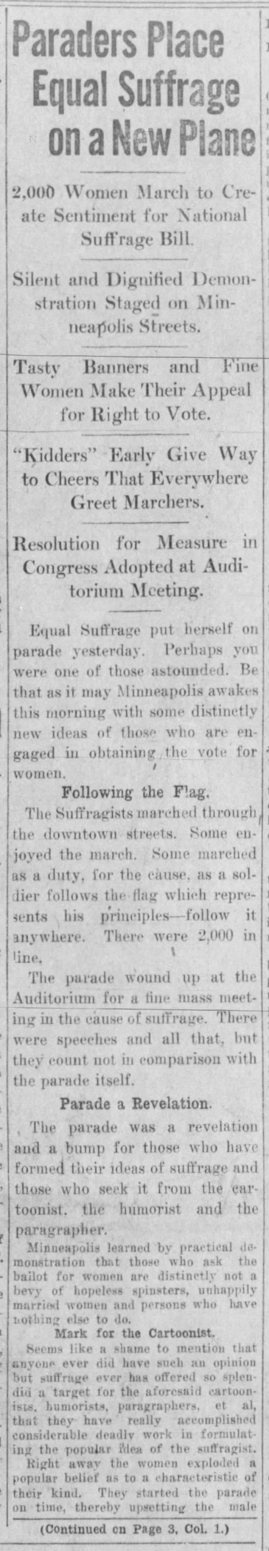 Paraders place equal suffrage on a new plane, pg 1 -