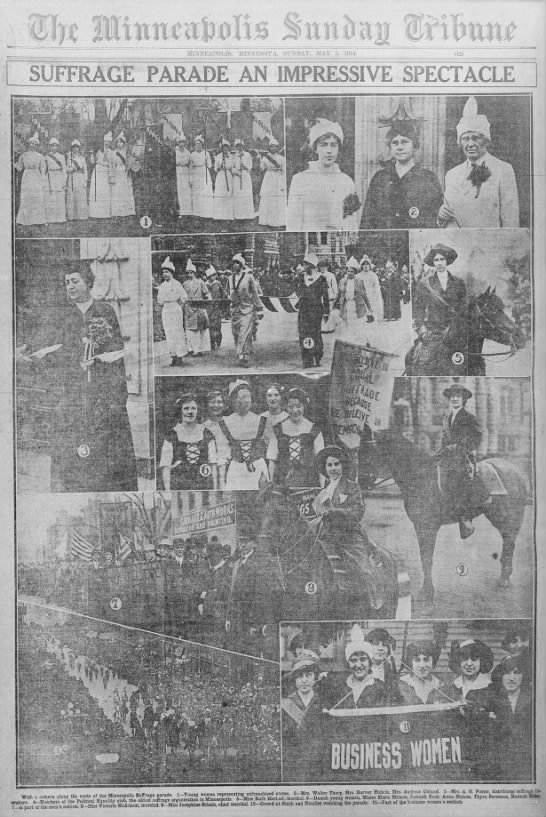 The front page of a newspaper from 1914 featuring photos of a suffrage parade in the Twin Cities that drew over 2,000 people.