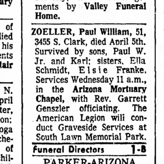 Paul William Zoeller Obituary -