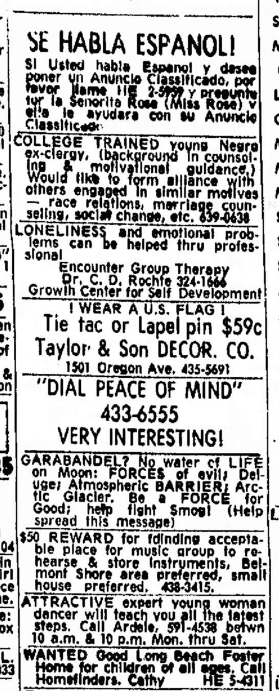 ClassifiedAd-Independent, Long Beach CA 12 May, 1971 -