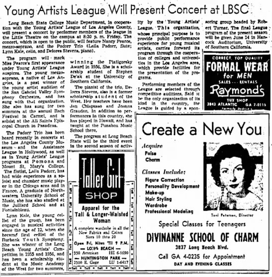 Reference to Stephan De'ak - Artists League Will Present Concert at LBSC:...