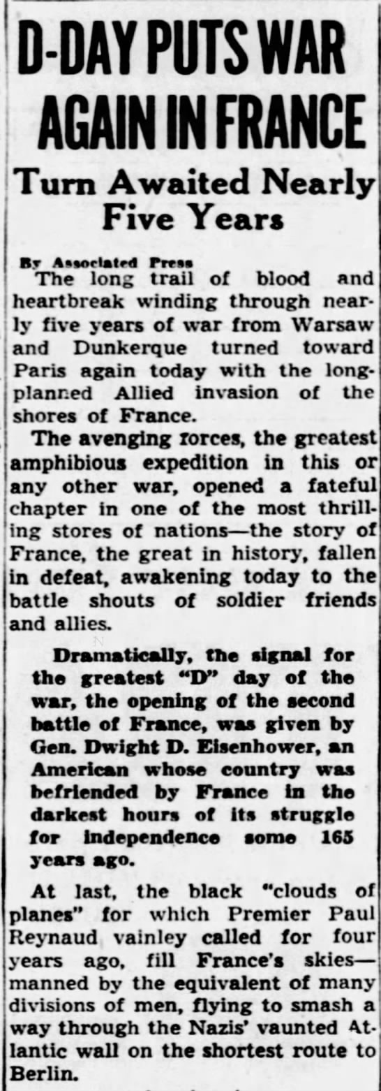 D-Day Puts War in France - D-DAY PUTS VAR AGAIN IN FRANCE Turn Awaited...