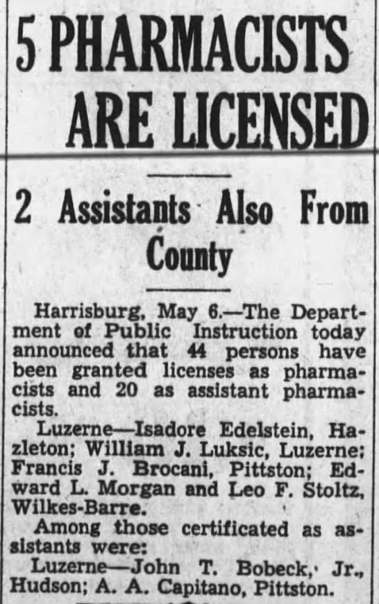 John T Bobeck Jr, Pharmacist's License 6 May 1935 -