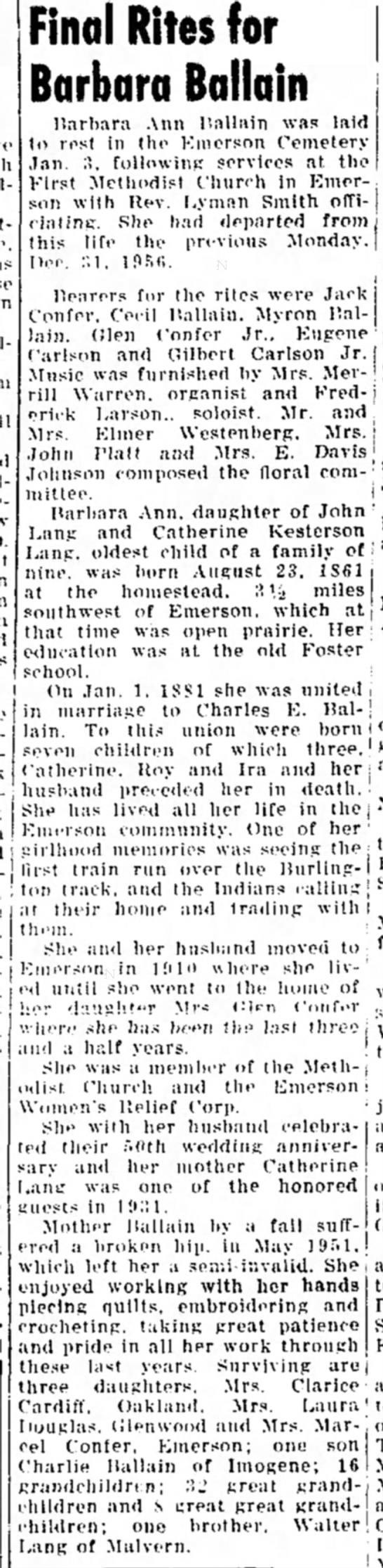 Malvern Leader 10 Jan 1957 Barbara A. Lang, daugh of Catherine Kesterson -