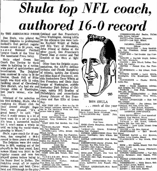 Shula top NFL coach, authored 16–0 record -