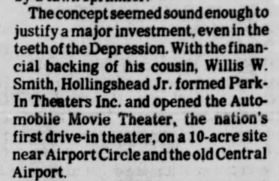 Hollingsworth sought financial backing to develop first drive-in theater -