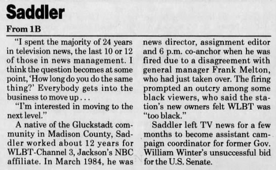 WJTV moves Walter Saddler off anchor desk and into new role