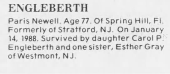 Paris Newell Engleberth Obit 17 Jan 1988 -
