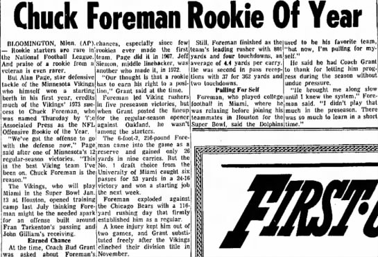 Chuck Foreman Rookie Of Year -