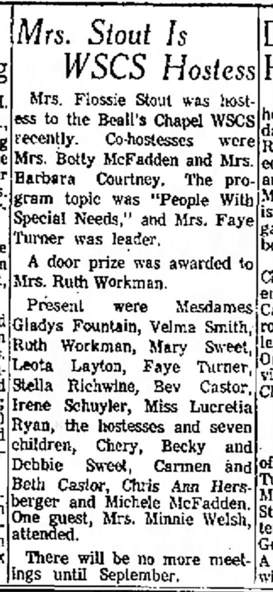 Anderson Daily BulletinJune 16, 1967Beall's Chapel, Workman wins door prize - H and Anderson. Lynn Mrs. Stout Is WSCS Hostess...