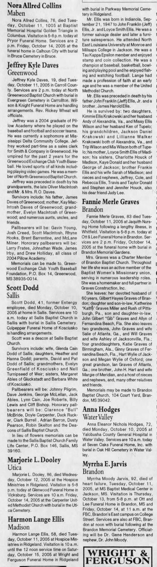 Frankie Eillis brother obit Oct 13 2005 -