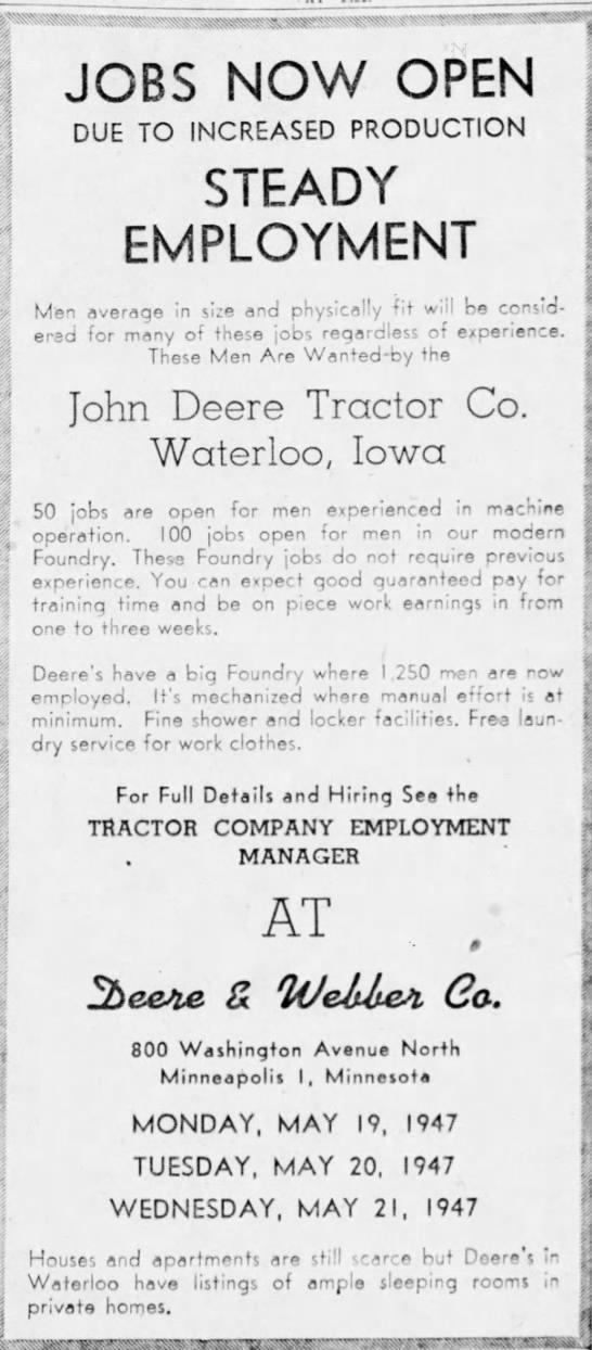 John Deere jobs after the WW2 in 1947 - Newspapers com