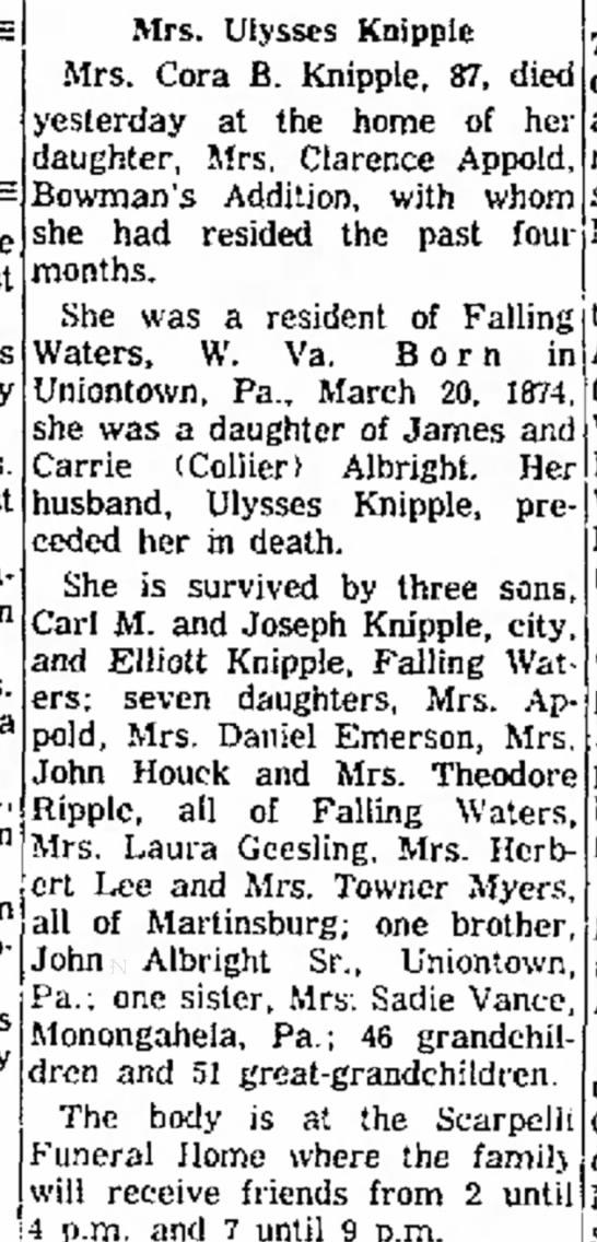 Cora B Albright Knipple obituary - 24 April 1961, Cumberland Evening Times, Cumberland, MD - Charles Mrs. son Mrs. a I., in William Mrs....