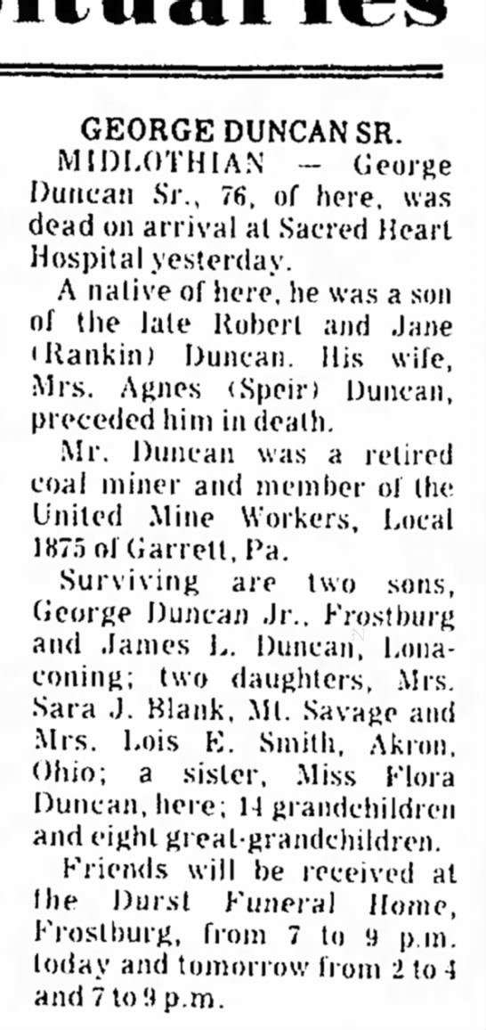 Duncan, George Sr.  Midlothian, died March 24, 1975  Cumberland Evening Times -