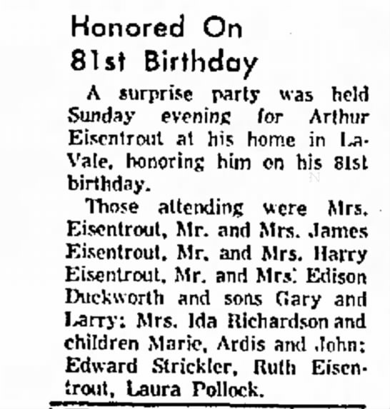 Eisentrout, Arthur 3-2-1966 (81) Surprise Birthday Party  Cumberland News  -