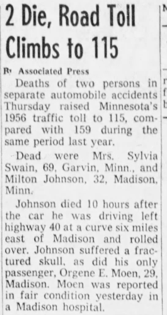CAR ACCIDENT DAD MILTON JOHNSON - Newspapers com