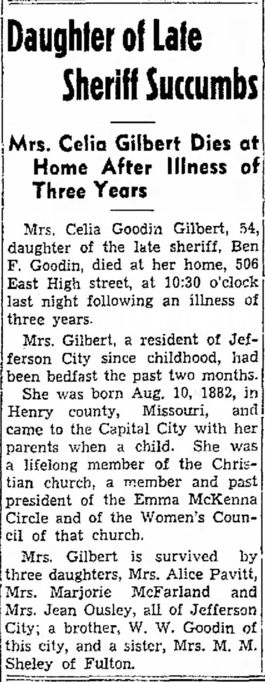 Mrs. Celia (Goodin) Gilbert newspaper obituary -