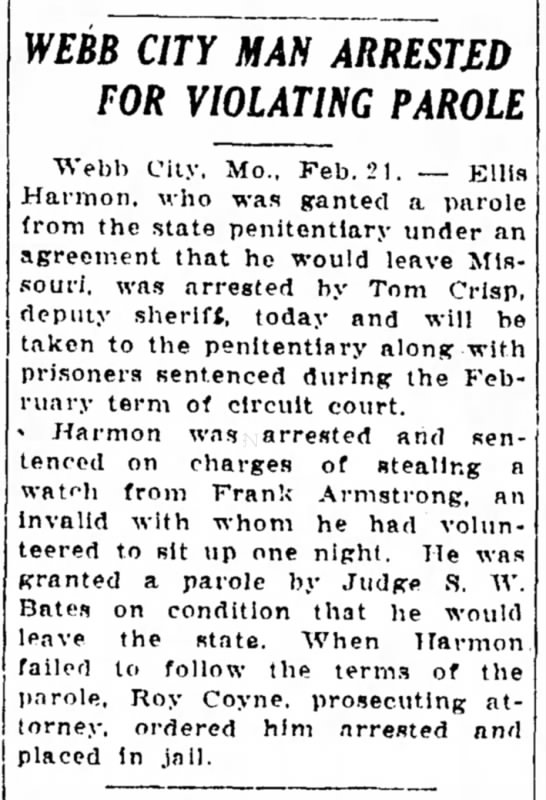 Ellis Harmon violates parole 22 Feb 1925 -