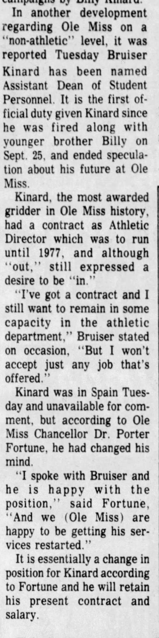 Bruiser Kinard - new position -