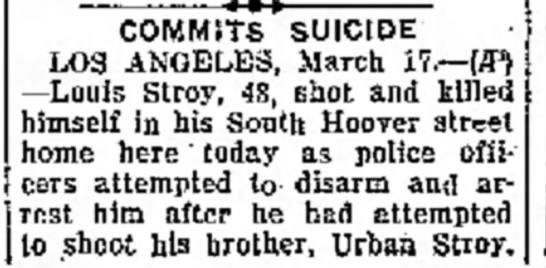 Louis Stroy Commits Suicide -