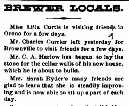 1891. Mrs. Sarah Ryder, Bangor, ME. -