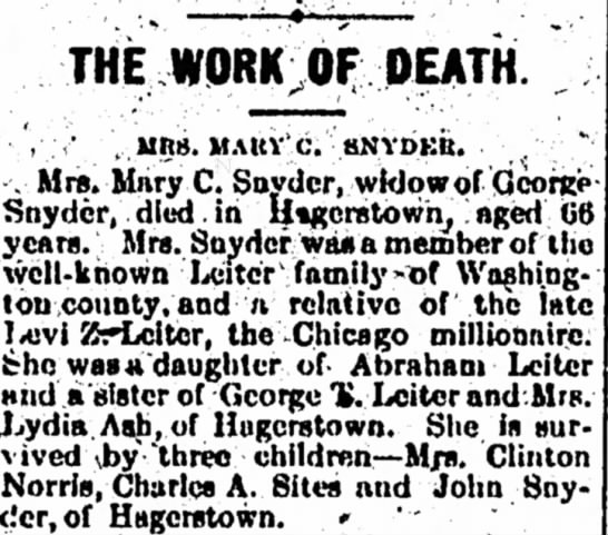 1910 Mary C. Snyder - THE WORK OF DEATH. ·',·;· \ MRS. MAUY'c....