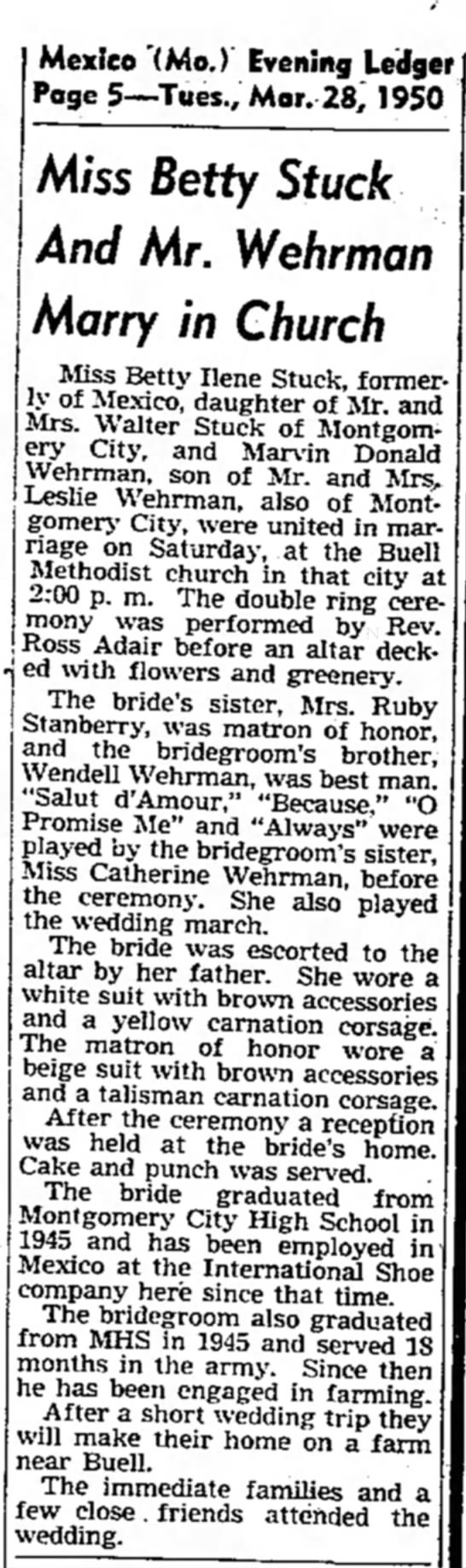 Miss Betty Stuck And Mr. Wehrman Marry in Church -