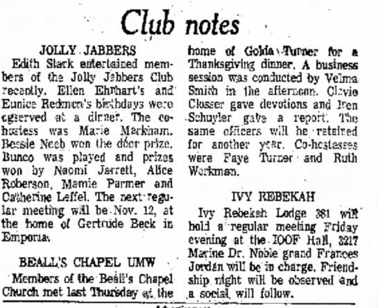 Anderson Daily BulletinNovember 8, 1973Beall's Chapel UMW - Club notes JOLLY JABBERS Edith Stark...