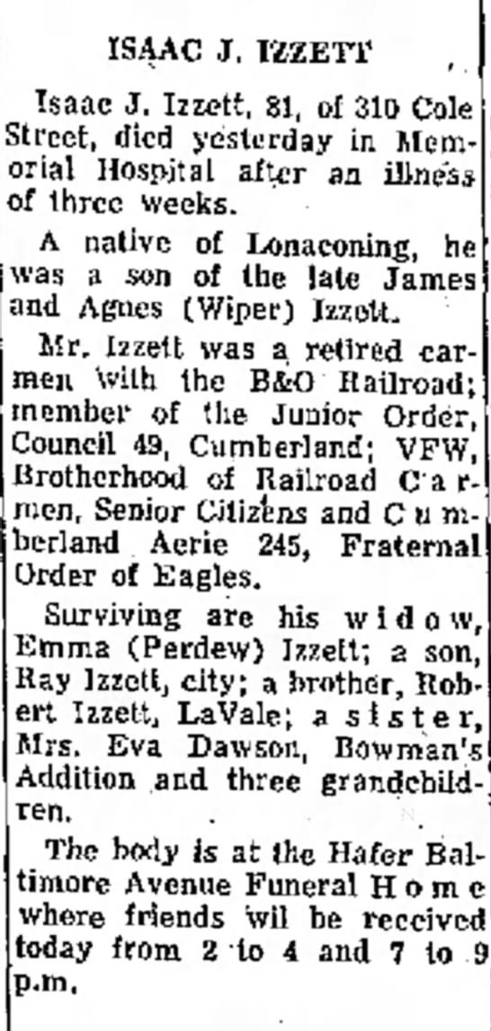 Obituary of Isaac J. Izzett -