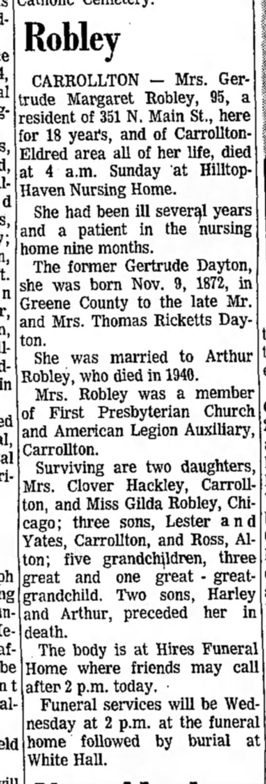 Gertrude Robley-obit-Alton Evening News-page 17-2 Jan 1968 -