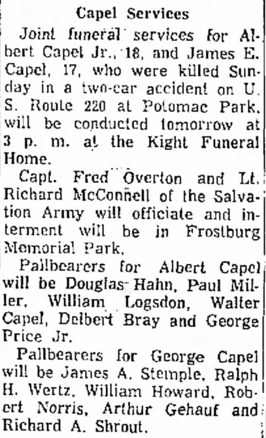George Albert Capel Jr. 18, and brother James Edward Capel 17, killed in auto crash may 8, 1960 